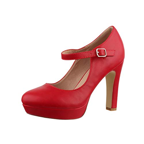 Elara Damen High Heels Pumps Riemchen Vintage Chunkyrayan E22320 Red-39