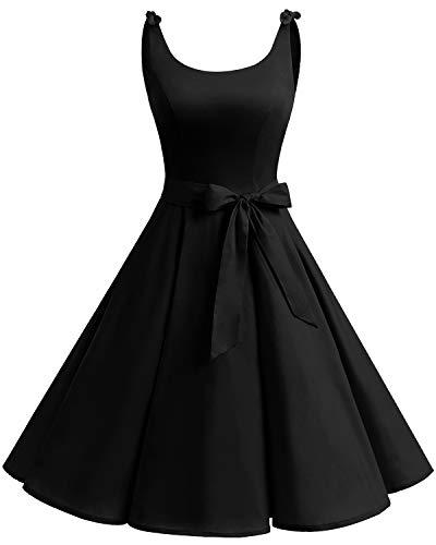 Bbonlinedress 1950er Vintage Polka Dots Pinup Retro Rockabilly Kleid Cocktailkleider Black XS