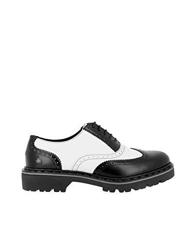 ART Herren Schuhe 1177 Black White Rockabilly Halbschuhe Leder (43 EU, Schwarz)
