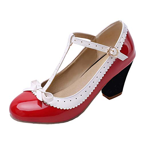 T-spangen High Heels Pumps mit Blockabsatz und Riemchen Lack Rockabilly Cosplay Lolita Schuhe (Rot,38)
