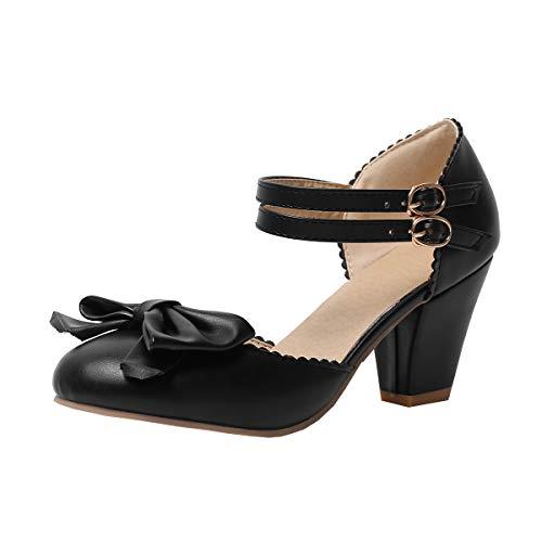 Damen Knöchelriemchen High Heels Pumps mit Blockabsatz und Riemchen Schleife Rockabilly Lolita Cosplay Geschlossen...