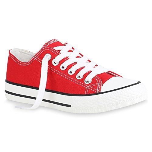 stiefelparadies Damen Sneaker Low Basic Turnschuhe Freizeit Schnürer Stoff Schuhe 156274 Rot Brooklyn 41 Flandell