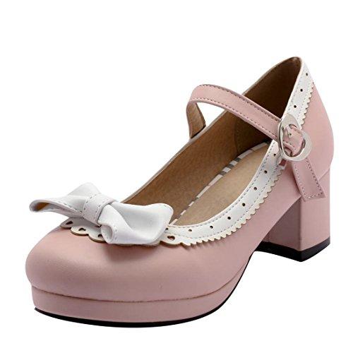 MISSUIT Damen Mary Jane Pumps mit Blockabsatz und Schleife 5cm Absatz Geschlossen Rockabilly Schuhe(Rosa,40)