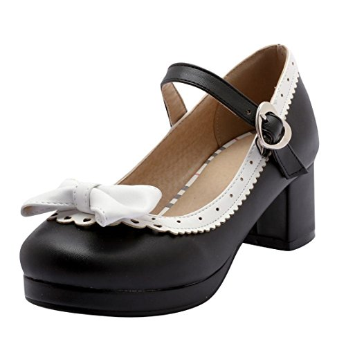 MISSUIT Damen Mary Jane Pumps mit Blockabsatz und Schleife 5cm Absatz Geschlossen Rockabilly Schuhe(Schwarz,38