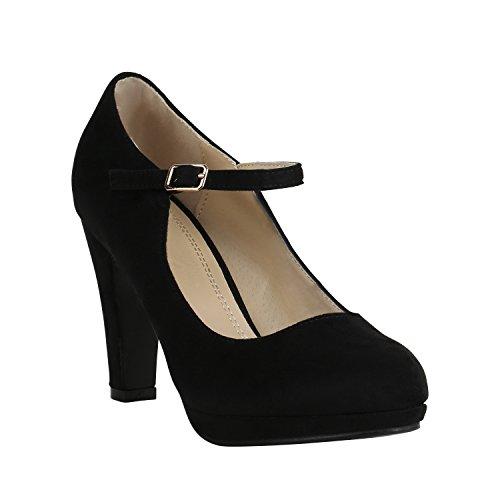 Damen Schuhe Plateau Pumps Lack Spangenpumps High Heels Blockabsatz 157223 Schwarz Brito 36 Flandell