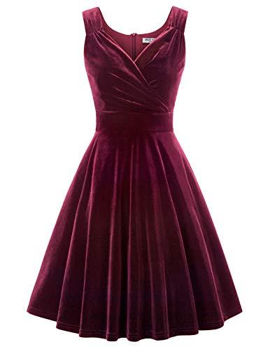 Vintage Kleider 50er Jahre Rockabilly Kleid cocktailkleid a Linie Elegante Kleider CL108-2 S