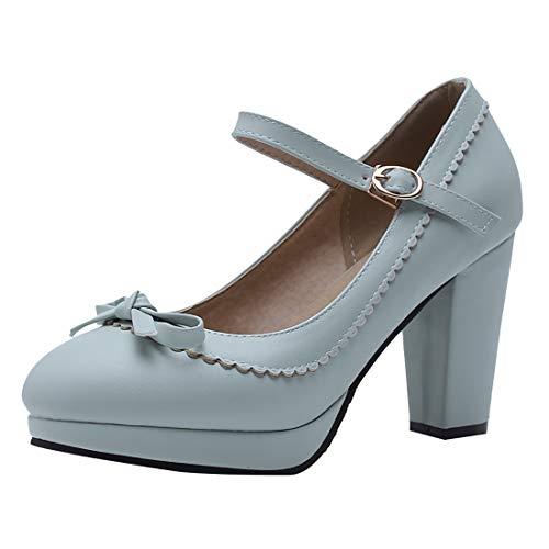 Mary Jane Pumps mit Blockabsatz High Heels Plateau Geschlossen 8cm Absatz Retro Vintage Rockabilly Schuhe(Blau,39)