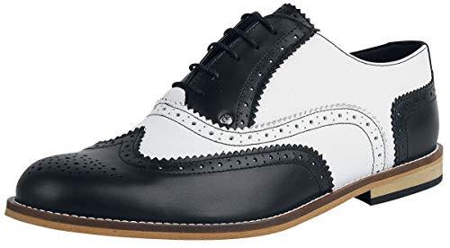 Steelground Shoes Classic Brogue Männer Schnürschuh schwarz EU46 Leder Rockabilly, Rockwear