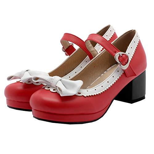 Mary Jane Damen Schuhe Rockabilly Pumps mit Blockabsatz und Schleife Cosplay Lolita Retro Schuhe 5cm Absatz(Rot,39)