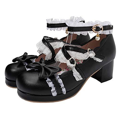 MISSUIT Damen Mid Heels Mary Jane Lolita Cosplay Chunky Heels Pumps mit Knöchelriemchen und Blockabsatz Schleife...
