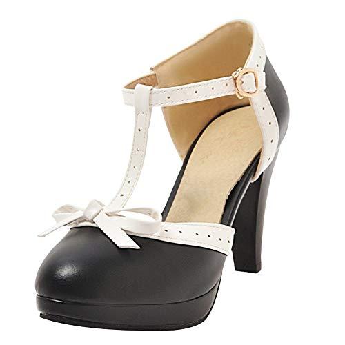 T Strap Pumps Blockabsatz High Heels Plateau Vintage Retro Rockabilly Damen Schuhe(Schwarz,40)