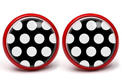 LA FABA'Polka Dots' Ohrstecker Polka Punkte weiß auf schwarz mit extra großen Punkten, Ohrringe gepunktet, Ø 14 mm...
