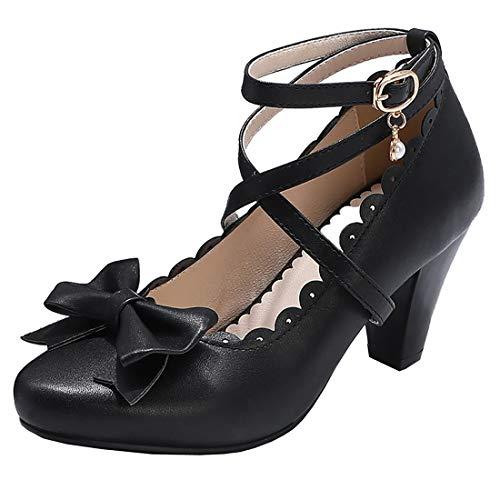 Etebella Damen Mary Jane High Heels Lolita Pumps mit Riemchen und Blockabsatz Rockabilly Schleife Cosplay Schuhe...
