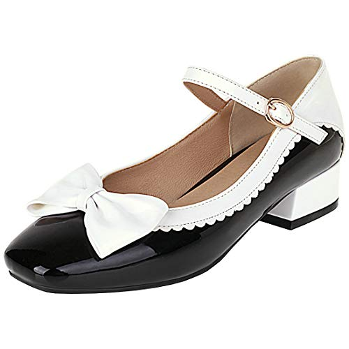 Etebella Damen Mary Jane Blockabsatz Pumps Lack mit Riemchen und Schleife Rockabilly Lolita Cosplay Schuhe (Schwarz,38)