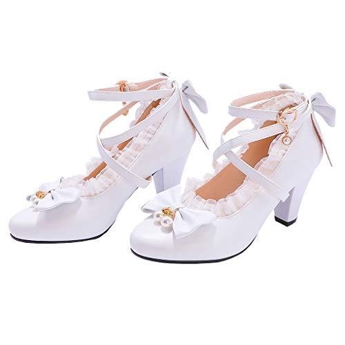 Femany Damen Rockabilly Pumps mit Blockabsatz und Riemchen Schleife High Heels Lolita Cosplay Schuhe (Weiß,39)