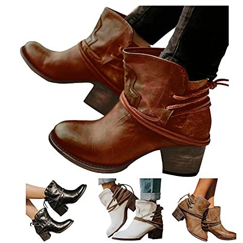 Dasongff Damen Stiefeletten Ankle Boots mit Blockabsatz Retro-Stil Kurze Stiefel Spitzschuh High Heel Schuhe...