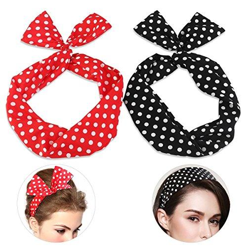 Aphrodite Beauty Care I Polka Dots Haarband Rockabilly Haarschmuck rot schwarz I Stirnband mit biegbarem Draht I 2...