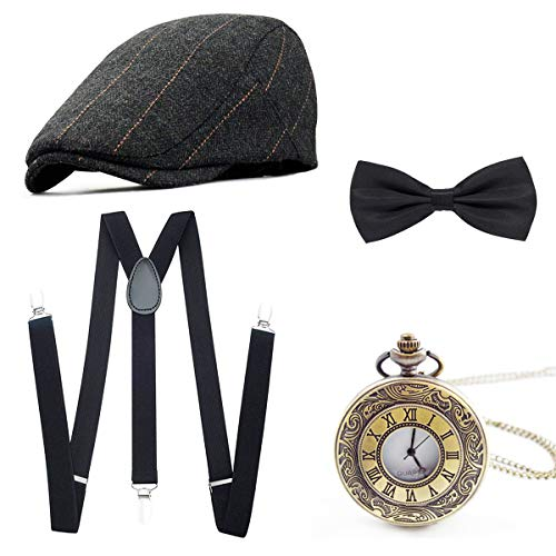 Wagoog 1920s Herren Accessoires Mafia Gatsby Kostüm Set Inklusive Panamahut Verstellbar Elastisch Hosenträger Herren...