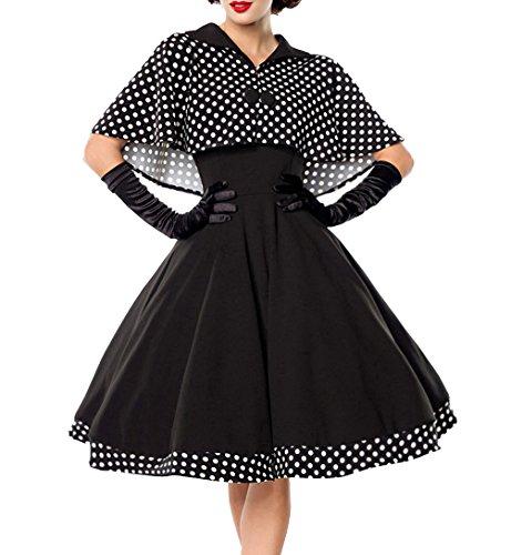 Schwarzes knielanges Swing Kleid im High Waist Schnitt mit Cape und abnehmbar gepunktet und Umlegekragen bandeau S