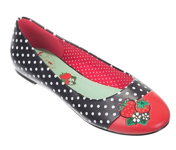 Rockabilly Schuhe Retro Ballerinas 50er Jahre Vintage Stil Damen rot schwarz